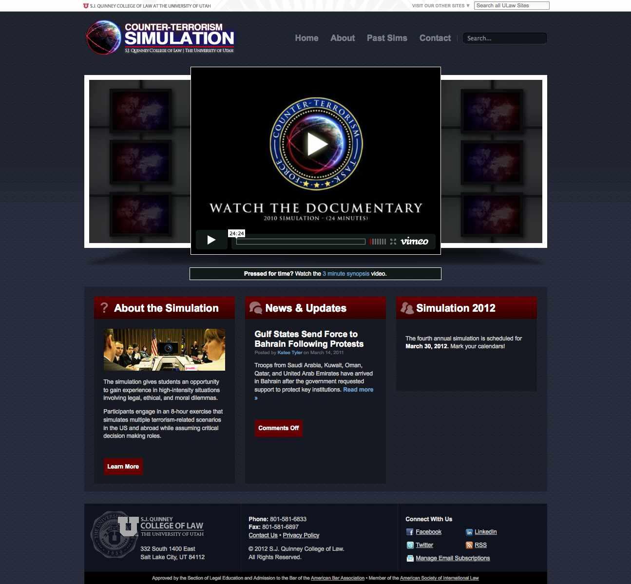 Screenshot of counter-terrorism sim website