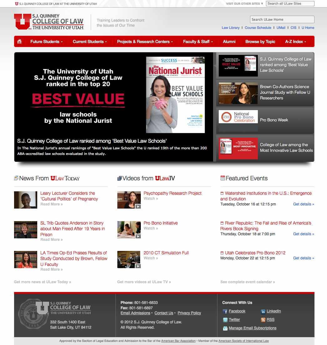 Screenshot of law.utah.edu circa 2012