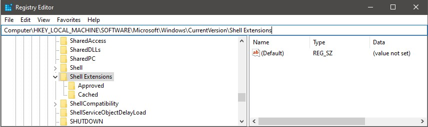 HKEY_LOCAL_MACHINE\SOFTWARE\Microsoft\Windows\CurrentVersion\Shell Extensions